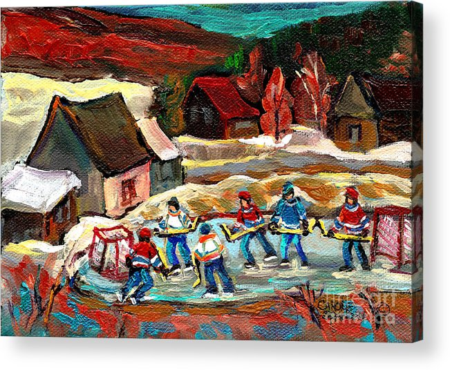 Vermont Acrylic Print featuring the painting Vermont Pond Hockey Scene by Carole Spandau