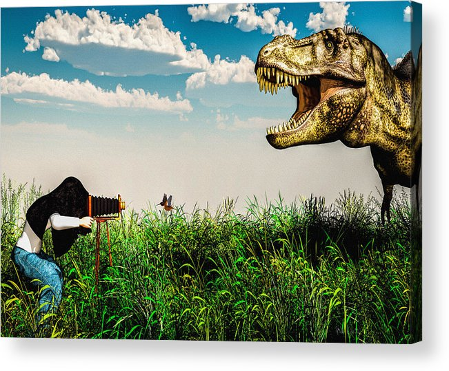 Dinosaur Acrylic Print featuring the digital art Wildlife Photographer by Bob Orsillo