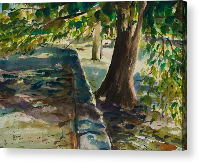 Watercolor Acrylic Print featuring the painting Grafton Wall by Scott Nelson