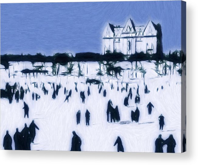 Ice Skating 19 Century Vintage Old Blue Sky Snow People Fun Winter Pastel Painting Acrylic Print featuring the pastel Ice Skating In Central Park by Stefan Kuhn
