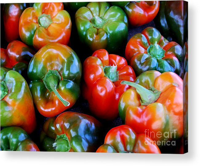 Pepper Acrylic Print featuring the photograph Sweet Peppers by Guy Harnett