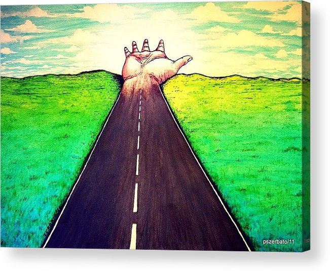 Those Who Walk The Way Acrylic Print featuring the digital art Those Who Follow The Way by Paulo Zerbato