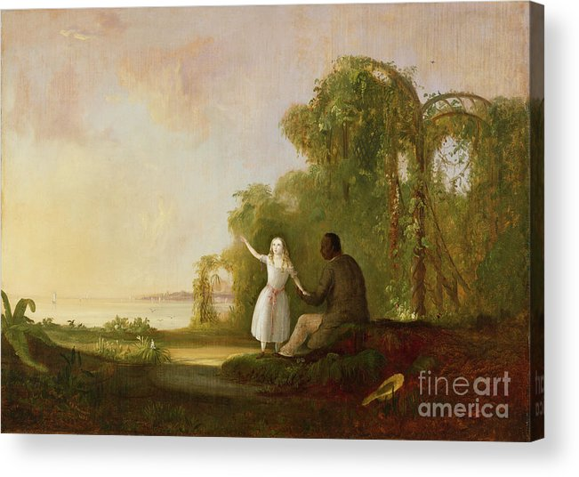 Uncle Acrylic Print featuring the painting Uncle Tom And Little Eva by Robert Scott Duncanson