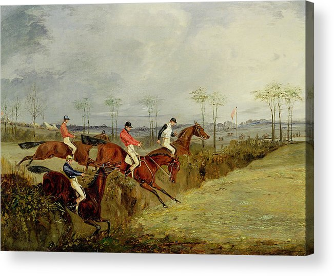 Steeplechase Acrylic Print featuring the painting A Steeplechase - Taking A Hedge And Ditch by Henry Thomas Alken