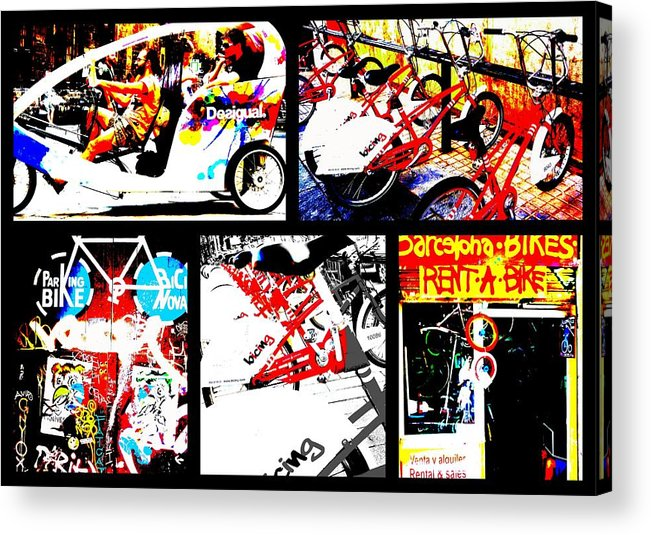Bicycle Acrylic Print featuring the photograph Biking In Barcelona by Funkpix Photo Hunter