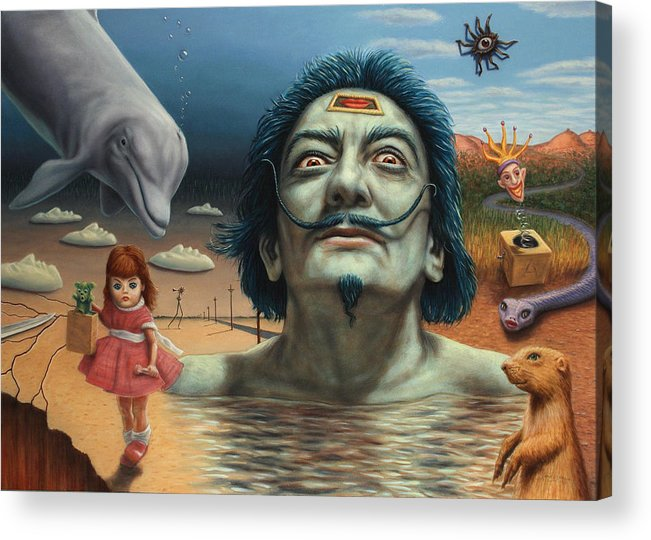 Dali Acrylic Print featuring the painting Dolly In Dali-land by James W Johnson