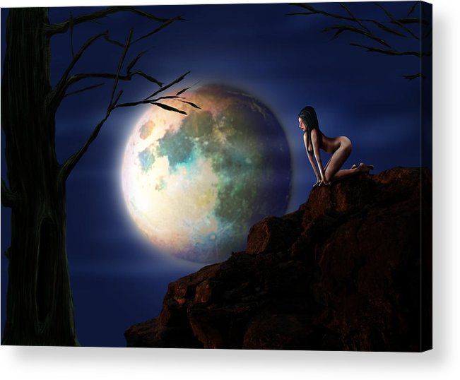 Moon Acrylic Print featuring the digital art Full Moon by Virginia Palomeque