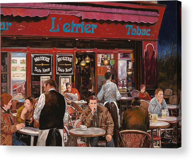 Brasserie Acrylic Print featuring the painting Le Mani In Bocca by Guido Borelli