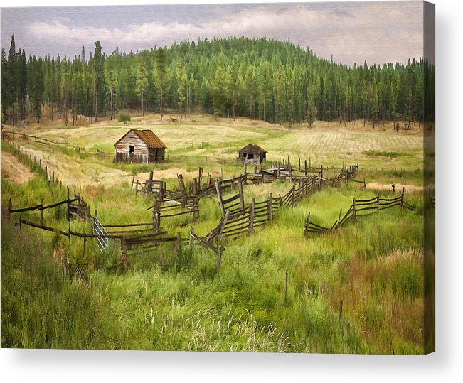 Architecture Acrylic Print featuring the digital art Old Montana Homestead by Sharon Foster