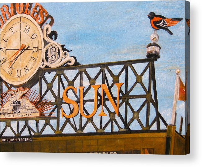 Orioles Acrylic Print featuring the painting Orioles Scoreboard At Sunset by John Schuller