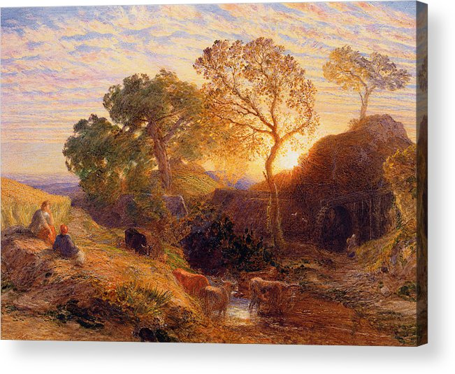 Sunset Acrylic Print featuring the painting Sunset by Samuel Palmer