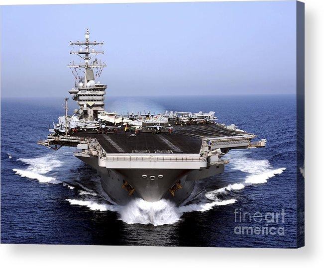 Flight Deck Acrylic Print featuring the photograph The Aircraft Carrier Uss Dwight D by Stocktrek Images