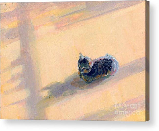 Gray Tabby Acrylic Print featuring the painting Tiny Kitten Big Dreams by Kimberly Santini