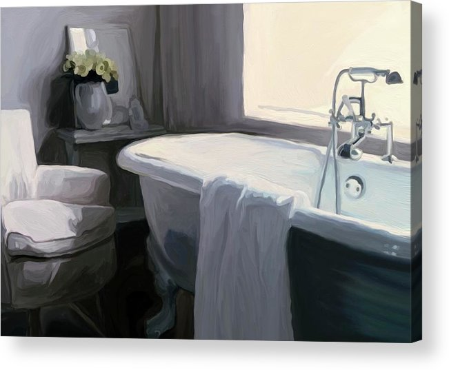 Tub Acrylic Print featuring the painting Tub In Grey by Patti Siehien