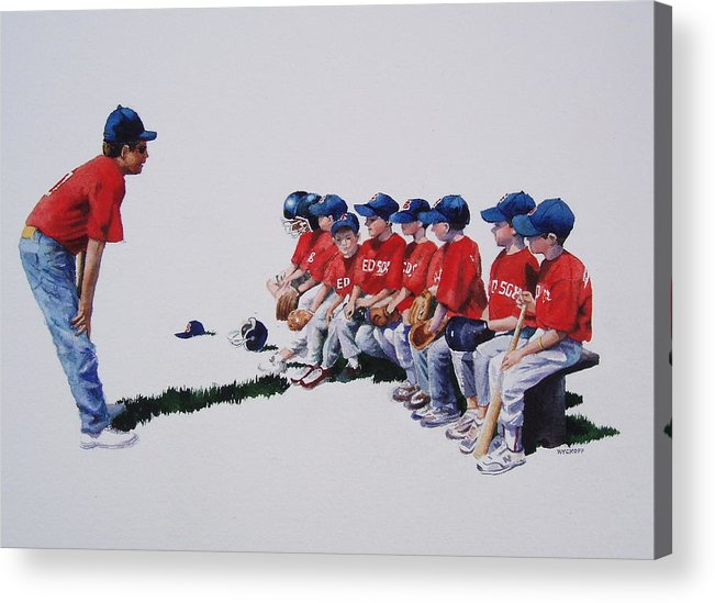 Baseball Players Acrylic Print featuring the painting Are We Ready Yet by Karol Wyckoff