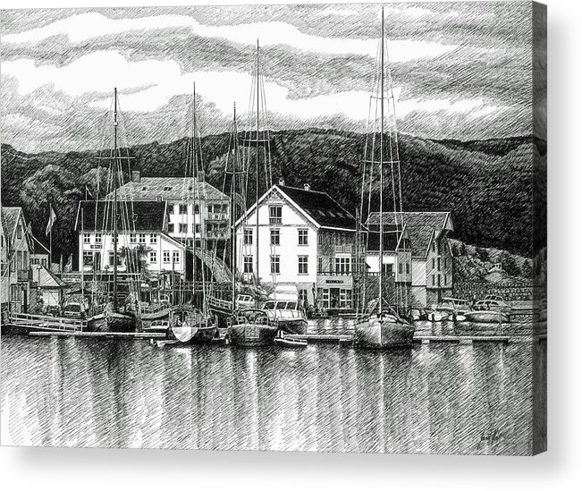 Dock Acrylic Print featuring the drawing Farsund Dock Scene Pen And Ink by Janet King