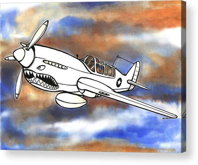 Warhawk Acrylic Print featuring the mixed media P-40 Warhawk 1 by Scott Nelson