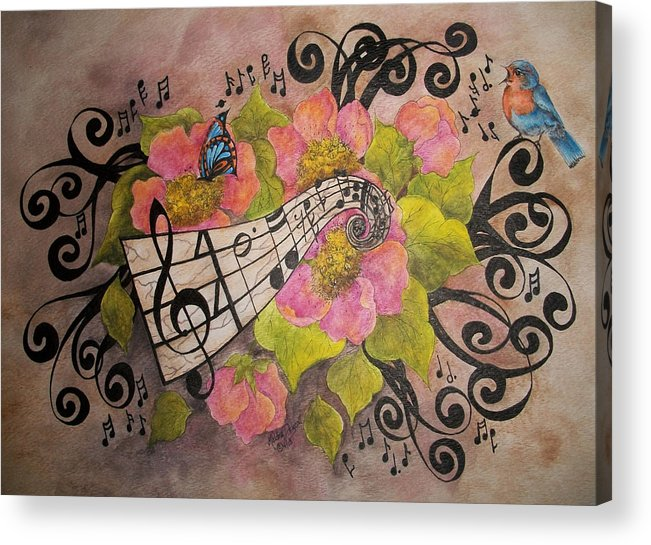 Music Acrylic Print featuring the painting Song Of My Heart And Soul by Meldra Driscoll