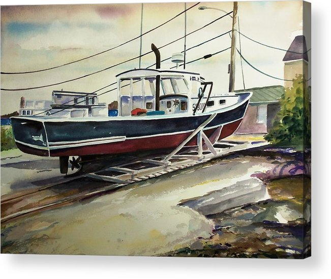 Perkins Cove Acrylic Print featuring the painting Up For Repairs In Perkins Cove by Scott Nelson