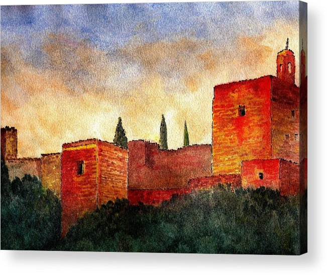 Alhambra De Granada Acrylic Print featuring the painting Alhambra At Sunset by Barbara Smith