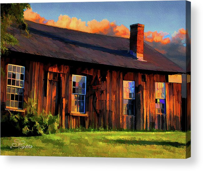 Shed Acrylic Print featuring the painting Farrier's Shed by Suni Roveto
