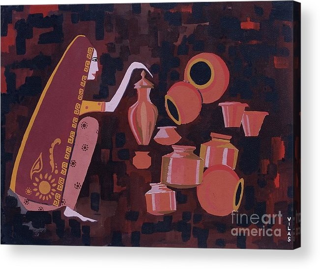 Potter Woman Pots Creations Shapes Brown Earthen Design Forms Acrylic Print featuring the painting Potter by Vilas Malankar