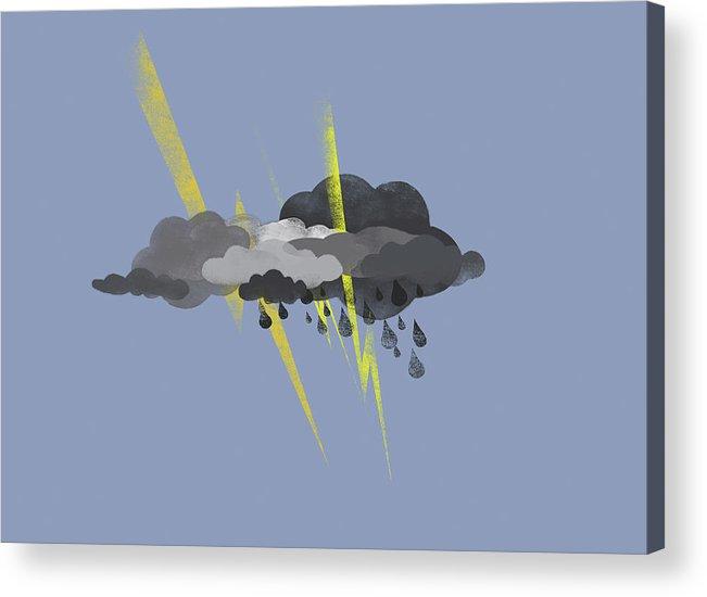 Horizontal Acrylic Print featuring the digital art Storm Clouds, Lightning And Rain by Jutta Kuss