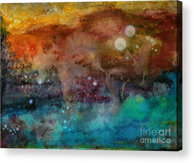 Atmospheric Acrylic Print featuring the painting Twilight In The Cosmos by Janet Hinshaw