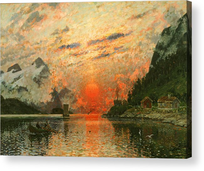 Scandinavia Acrylic Print featuring the painting A Fjord by Adelsteen Normann