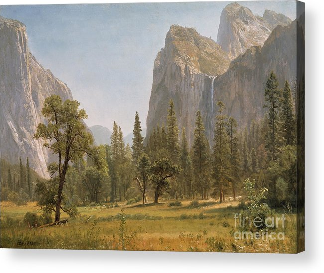 Bridal Acrylic Print featuring the painting Bridal Veil Falls Yosemite Valley California by Albert Bierstadt