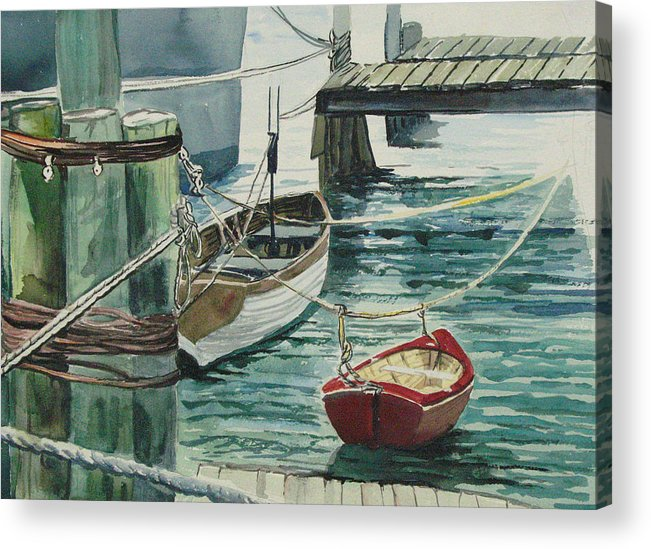 Galveston Acrylic Print featuring the painting Galveston Boats Watercolor by Judy Loper
