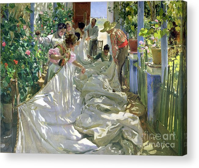 Sewing;straw Hat;geranium;sunshine;worker;workers;greenhouse;conservatory;interior; Pagoda Acrylic Print featuring the painting Mending The Sail by Joaquin Sorolla y Bastida