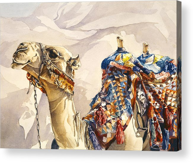 Camel Acrylic Print featuring the painting Prince Of The Desert by Beth Kantor