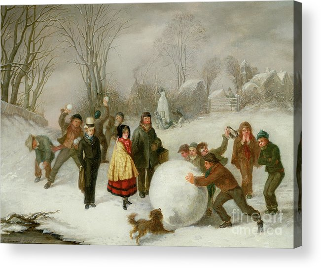 Snowballing Acrylic Print featuring the painting Snowballing  by Cornelis Kimmel