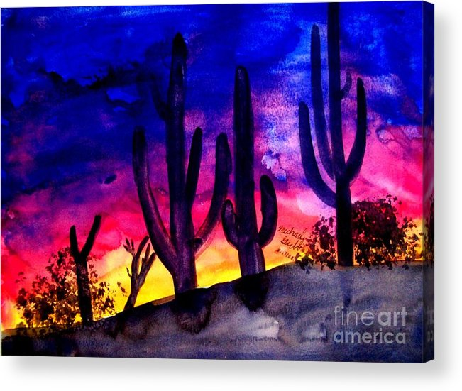 Colorful Acrylic Print featuring the painting Sunset On Cactus by Mike Grubb