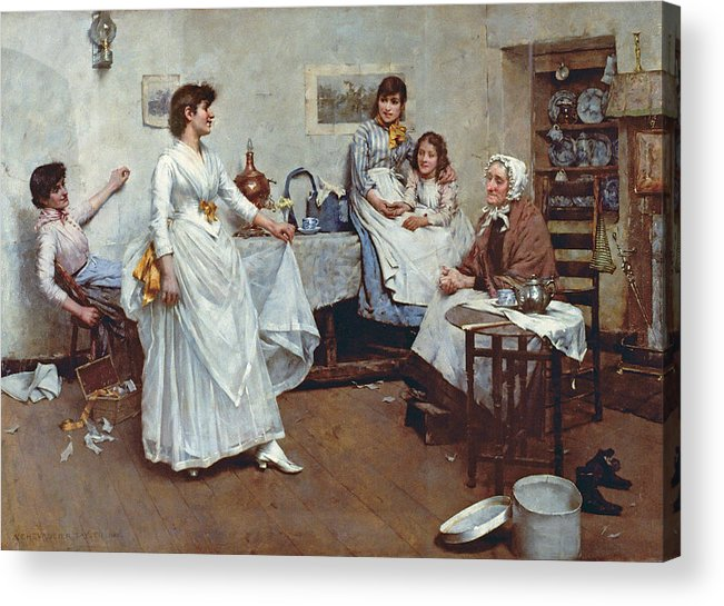 The Dress Rehearsal Acrylic Print featuring the painting The Dress Rehearsal by Albert Chevallier Tayler