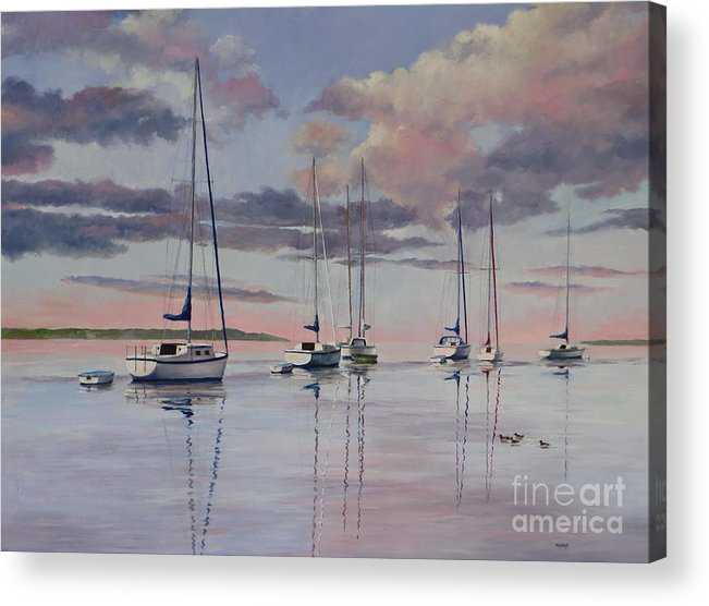 Sailboats Acrylic Print featuring the painting Cuttyhunk Harbor by Karol Wyckoff