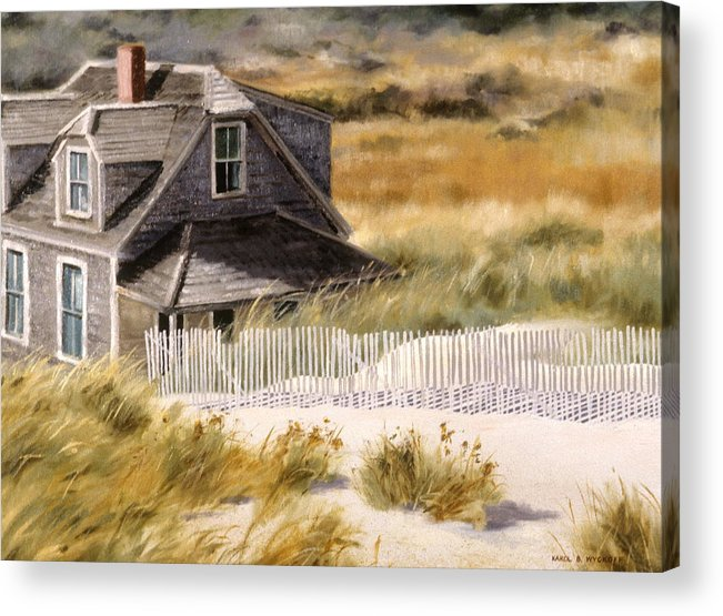 Cottage Acrylic Print featuring the painting Balston Beach House by Karol Wyckoff