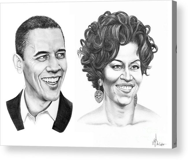 Portrait Acrylic Print featuring the drawing Barrack And Michelle Obama by Murphy Elliott