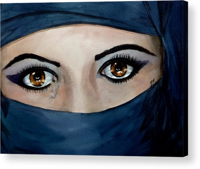 Jihad Acrylic Print featuring the painting Beyond The Veil by Michal Madison