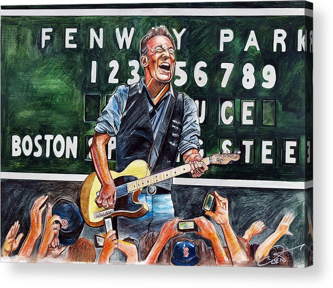 Bruce Springsteen Acrylic Print featuring the drawing Bruce Springsteen At Fenway Park by Dave Olsen