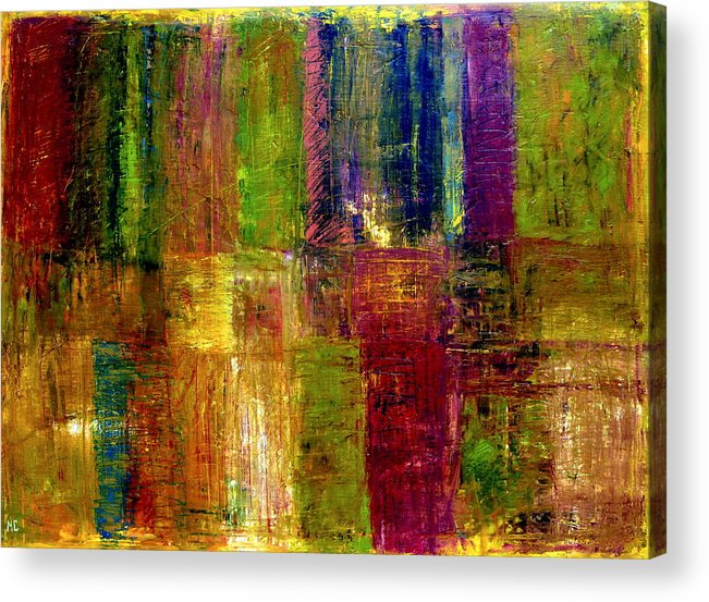 Abstract Acrylic Print featuring the painting Color Panel Abstract by Michelle Calkins