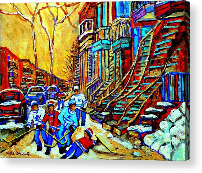 Montreal Acrylic Print featuring the painting Hockey Art Montreal Winter Scene Winding Staircases Kids Playing Street Hockey Painting by Carole Spandau