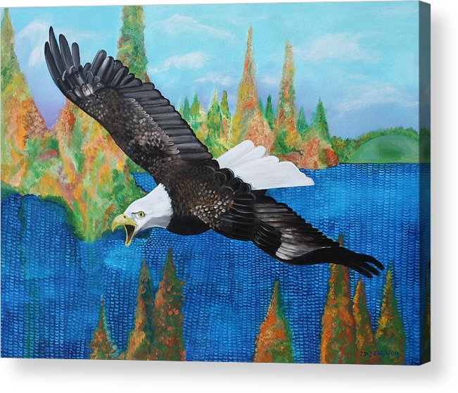 Eagle Acrylic Print featuring the painting Into The Future by John Keaton