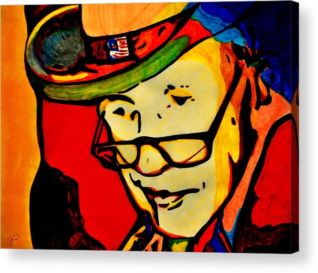 Justin Acrylic Print featuring the drawing Lead On by Jill Jacobs