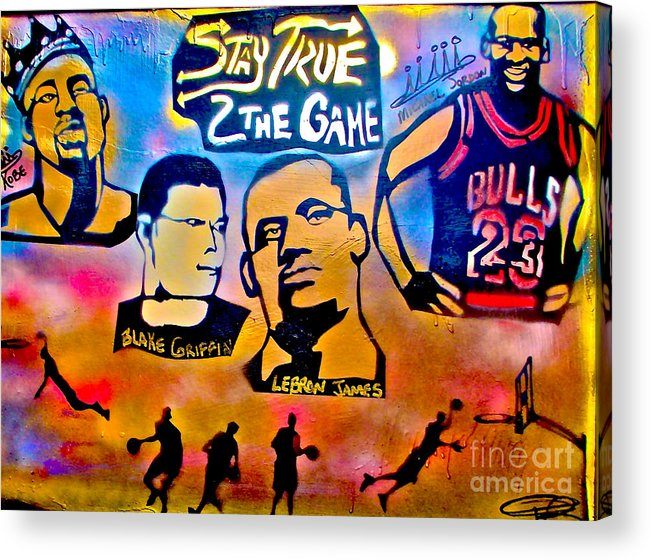 Kobe Bryant Acrylic Print featuring the painting Stay True 2 The Game No 1 by Tony B Conscious