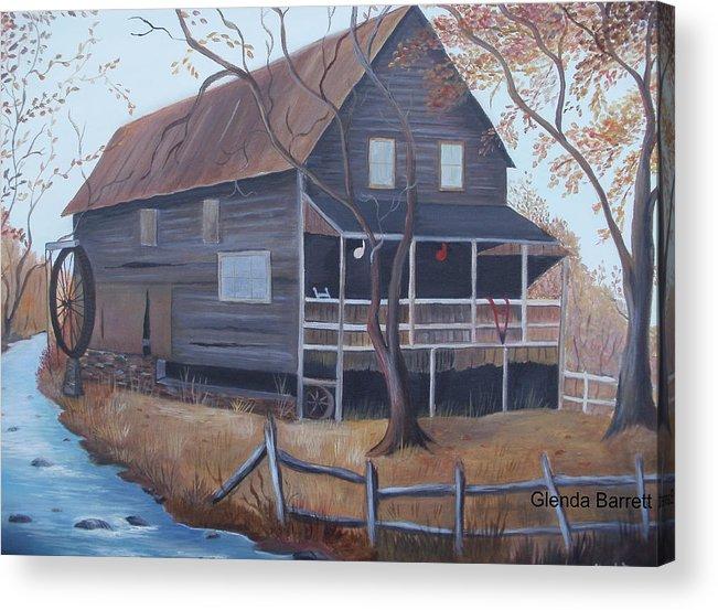 Original Acrylic Print featuring the painting The Mill by Glenda Barrett