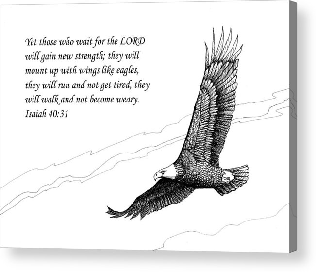 Pen And Ink Acrylic Print featuring the drawing Wait For The Lord by Janet King