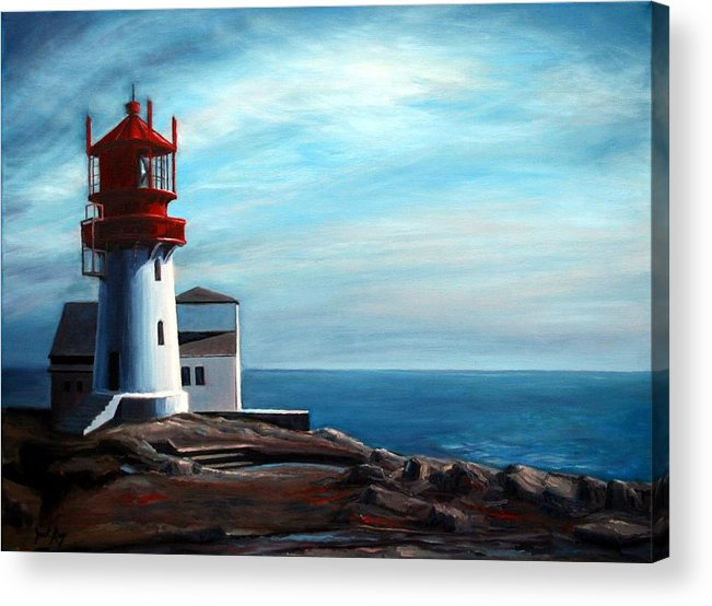 Lighthouse Acrylic Print featuring the painting Lindesnes Lighthouse by Janet King