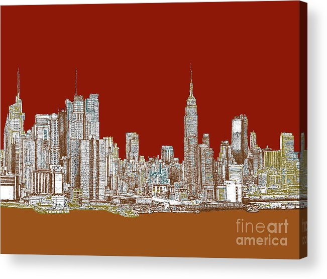 Sepia Acrylic Print featuring the drawing Nyc Red Sepia by Adendorff Design